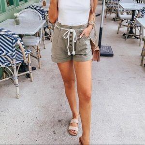 Billabong Tan Paperbag Button Front Shorts